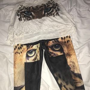Pants - Leggings with/without tank top crop top